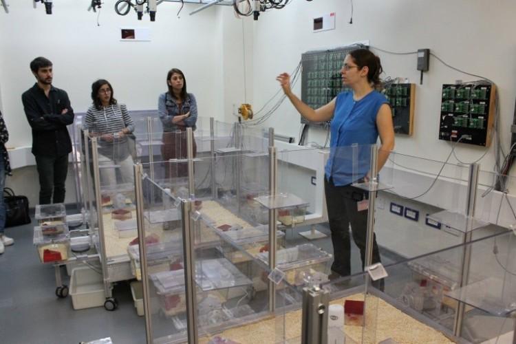 נגה מלכה, סטודנטית למחקר, מציגה לסטודנטים את מעבדות העכברים