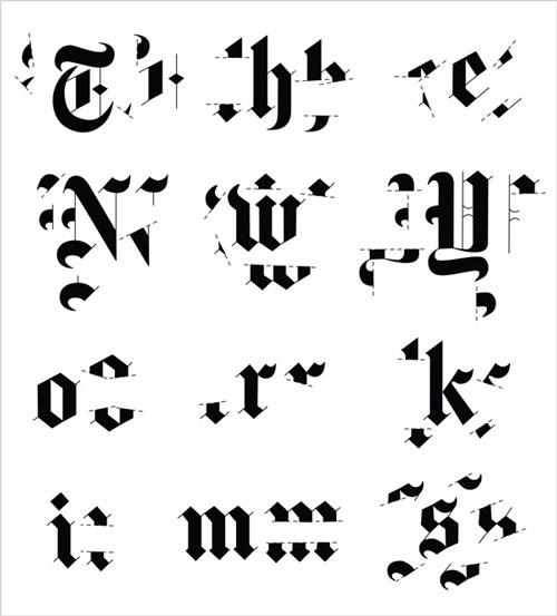 מיכל שני – פירוק לסגנונות של לוגו הניו יורק טיימס