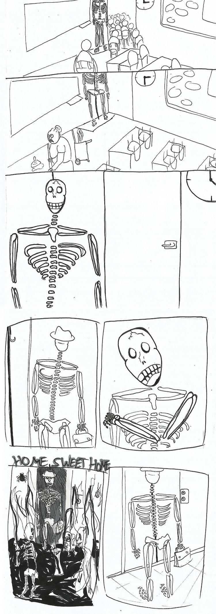 קומיקס מאת יעל טופורוביץ על חייו הפרטיים של השלד מכיתת הביולוגיה