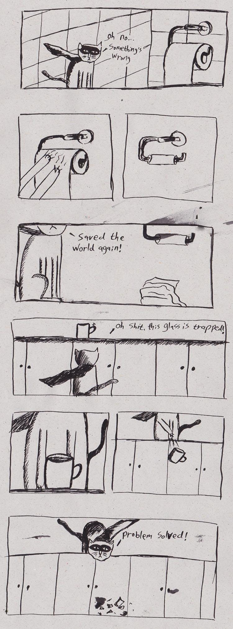 קומיקס של מאיה נקר על החתול המושיע