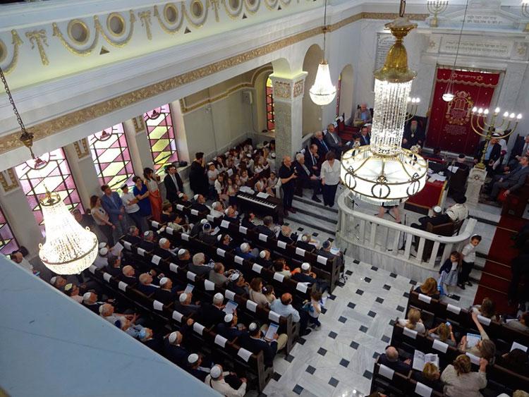 מבט כללי מטקס הפתיחה של בית הכנסת. צילום: קהילה יהודית בסאלוניקי.