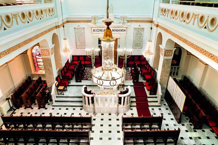 פנים של בית הכנסת אחרי השחזור. צילום: הקהילה היהודית בסאלוניקי ואדר' ד