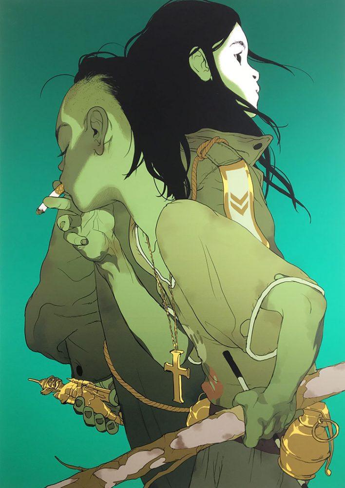איור לרומן הגרפי The Divine, של תומר חנוכה, אסף חנוכה ובועז לביא. צילום: הדס קובו.