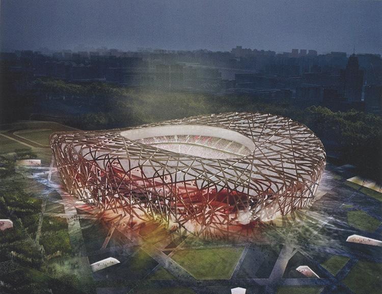 עיטור באדריכלות עכשווית - אצטדיון הלאומי בבייג'ינג. עריכת תצלום: הרצוג ודה מרון