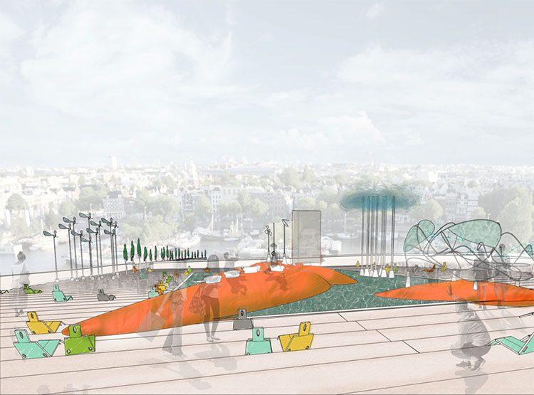 תחרות מוזמנת לתכנון גג מוזיאון נמו, אמסטרדם הולנד. סטודיו דה לנגה.
