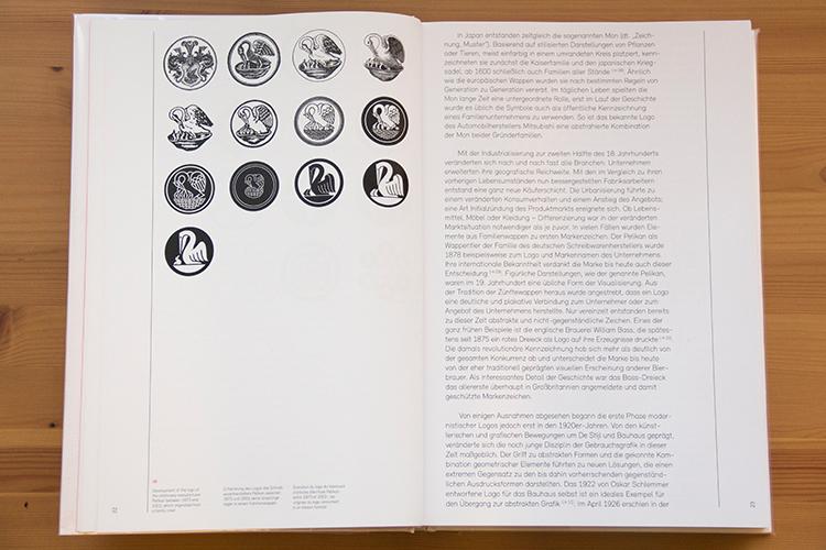 התפתחות הלוגו של חברת פליקן בין השנים 1873-2003. הלוגו התפתח מסמל המשפחה
