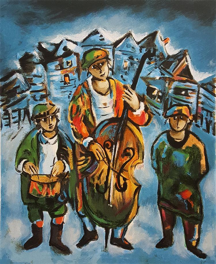 ברגנר, כלייזמרים על רקע העיירה. צילום: מתוך ליטוגרפיה
