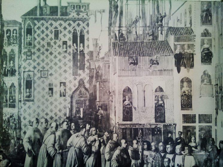 ציורו של ג'ובאני מנסואטי התלוי בסטודיו כהשראה