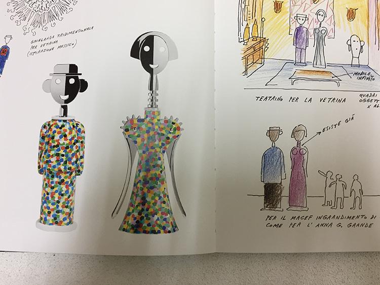 לרוב המוצרים בספר הצמידו סקיצות מאוירות צבעוניות וקלילות, ודווקא כאן טמון כוחו של הספר, בהשוואה בין הסקיצות הקטנות למוצרים הסופיים