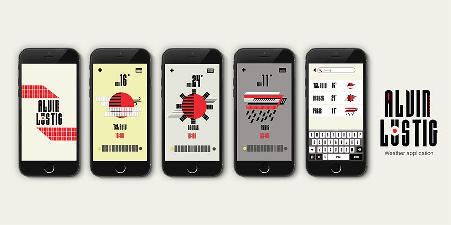 אפליקצית מזג אויר בהשראת המעצב אלווין לוסטיג. עיצוב: רותם ברנזר