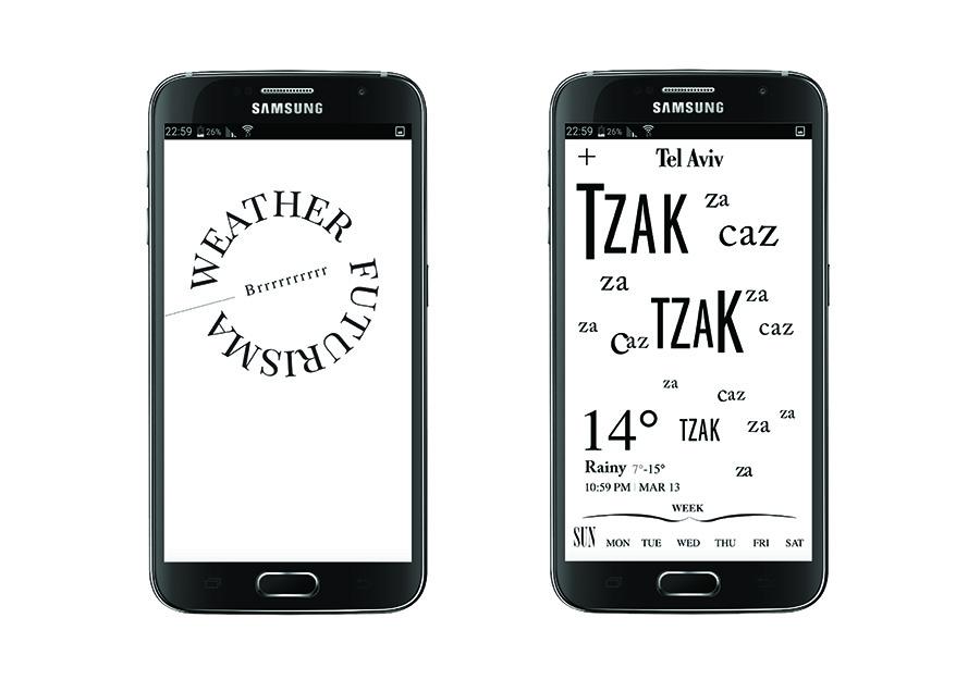 אפליקצית מזג אויר בהשראת פיליפו תומאסו מרינטי. עיצוב: ליאור בלוך