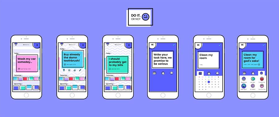 אפליקצית ניהול משימות בהשראת קבוצת ממפיס Do it or NOT. עיצוב: הדס קובו