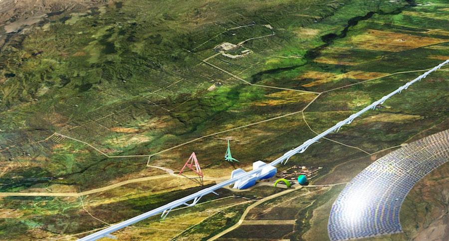 הדמיה של מבט על לאורך הגבול, עם תחנת ביניים וחווה סולארית