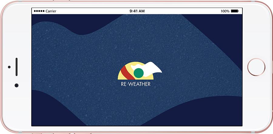 מסך פתיחה לאפליקצית מזג אויר בהשראת קבוצת אלכימיה. עיצוב: דנה פרחי