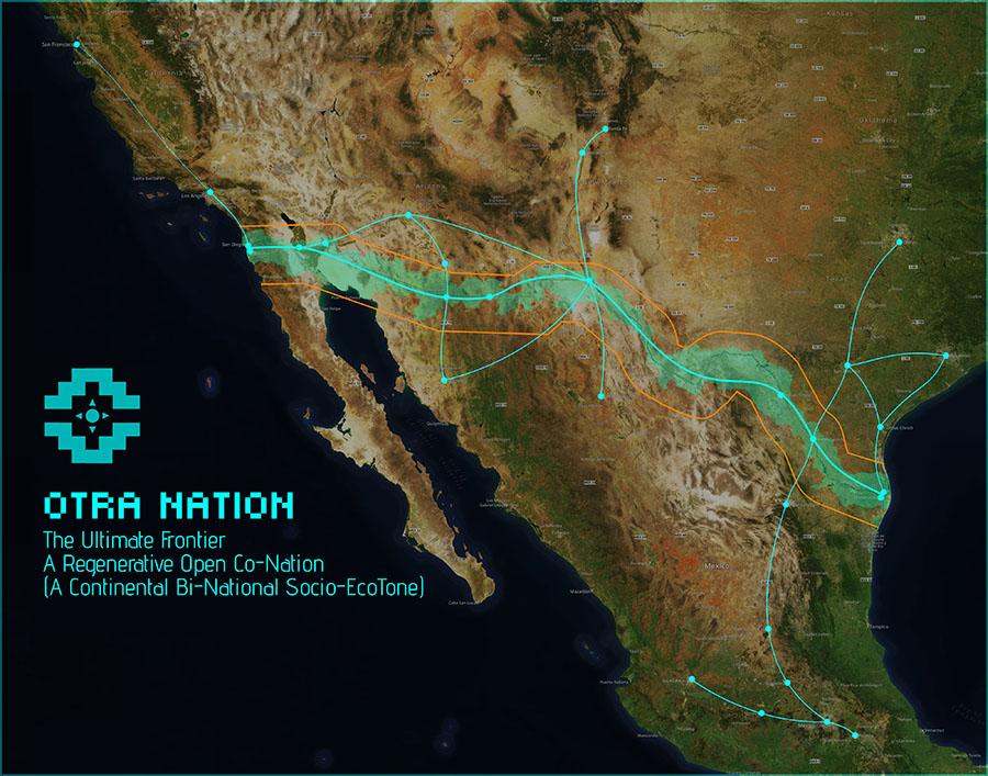 תוואי צינורות התחבורה המוצעים עבור פרוייקט Otra Nation. אורך הגבול בין ארה״ב למקסיקו הוא כ-3,200 קילומטר