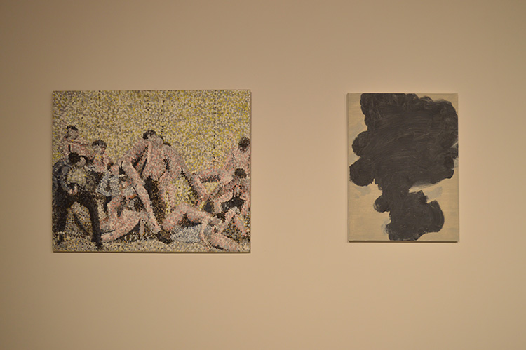 ״קטורת״, איל דניאלי, שמן על בד, 2017.  ״ללא כותרת״, חנן שלונסקי, טמפרה שעווה על בד, 2016