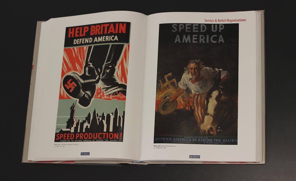 __עזרו לבריטניה להגן על אמריקה. האיצו בייצור!_. המועצה להגנה על אמריקה, 1941, Max Gordon. _הזדרזי, אמריקה! הגנו על אמריקה, סייעו למדינות הברית_,
