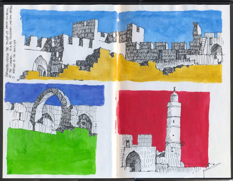 רישומים מהעיר העתיקה בירושלים. הרישום מבטא את העושר במשחק של אור וצל על חומות ירושלים.