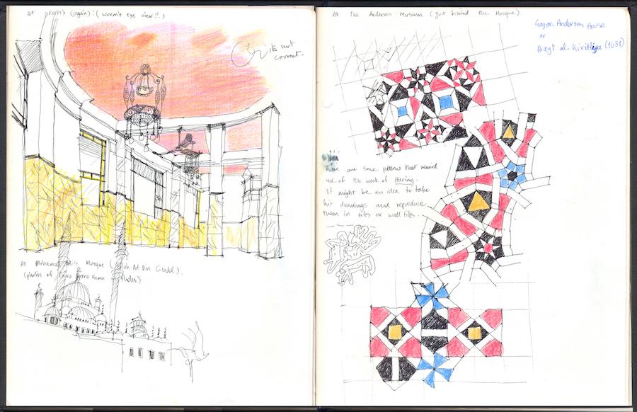 רישומים מהמסע במצריים. במסעי הזדמן לי לפגוש את האדריכל המצרי חסן פתחי, מחבר הספר 'אדריכלות לעניים', שמהווה עבורי עד היום מקור השראה.