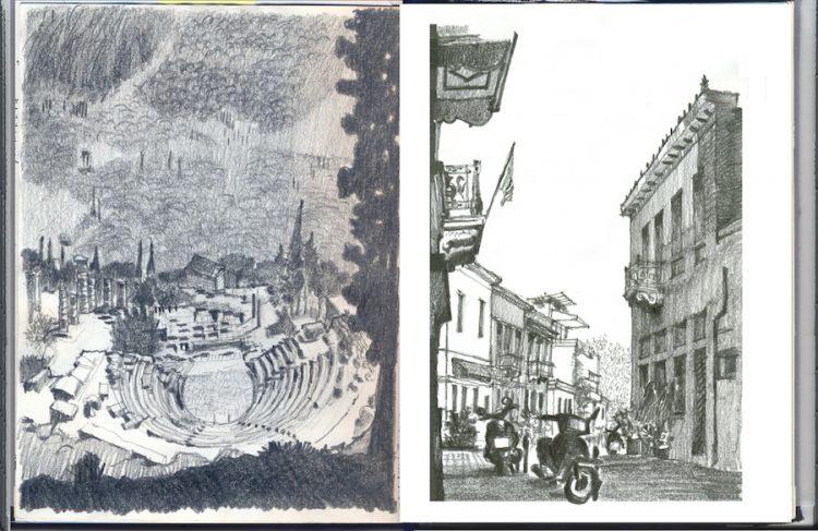 רישום של התיאטרון בדלפי (שמאל) ורחוב בפלאקה באתונה (ימין).