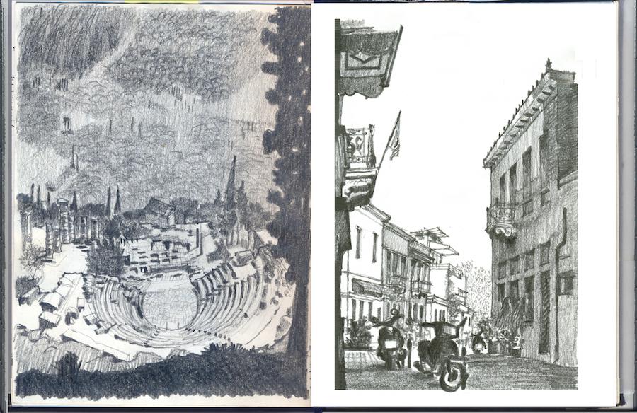 רישום של התיאטרון בלדפי (שמאל) ורחוב בפלאקה באתונה (ימין).