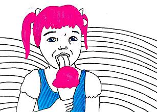 ילדה קטנה אכלה גלידה / לב קליפה