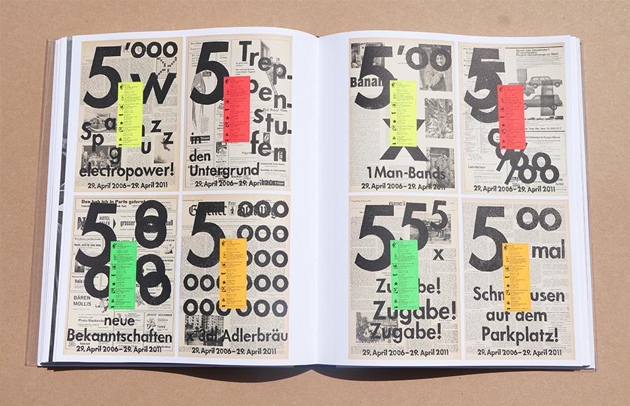 (Old News -(2011. ציון 5 שנים למועדון Veka Glarus. שימוש בנייר עיתון ישן ומדבקות נייר זוהרות. צילום: ספיר בן צבי