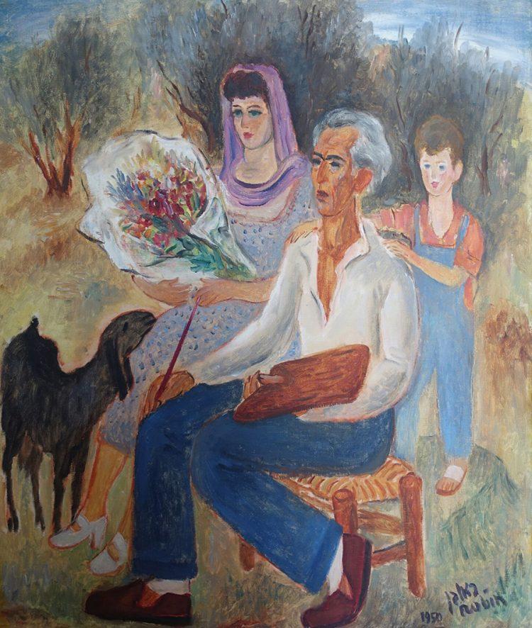 """ראובן רובין / """"משפחתי – ציור הכנה"""". באדיבות מוזיאון בית ראובן."""