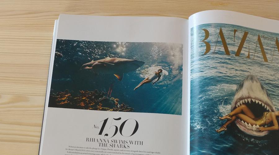ריהאנה שוחה לצד כרישים בשער המגזין, מרץ 2015