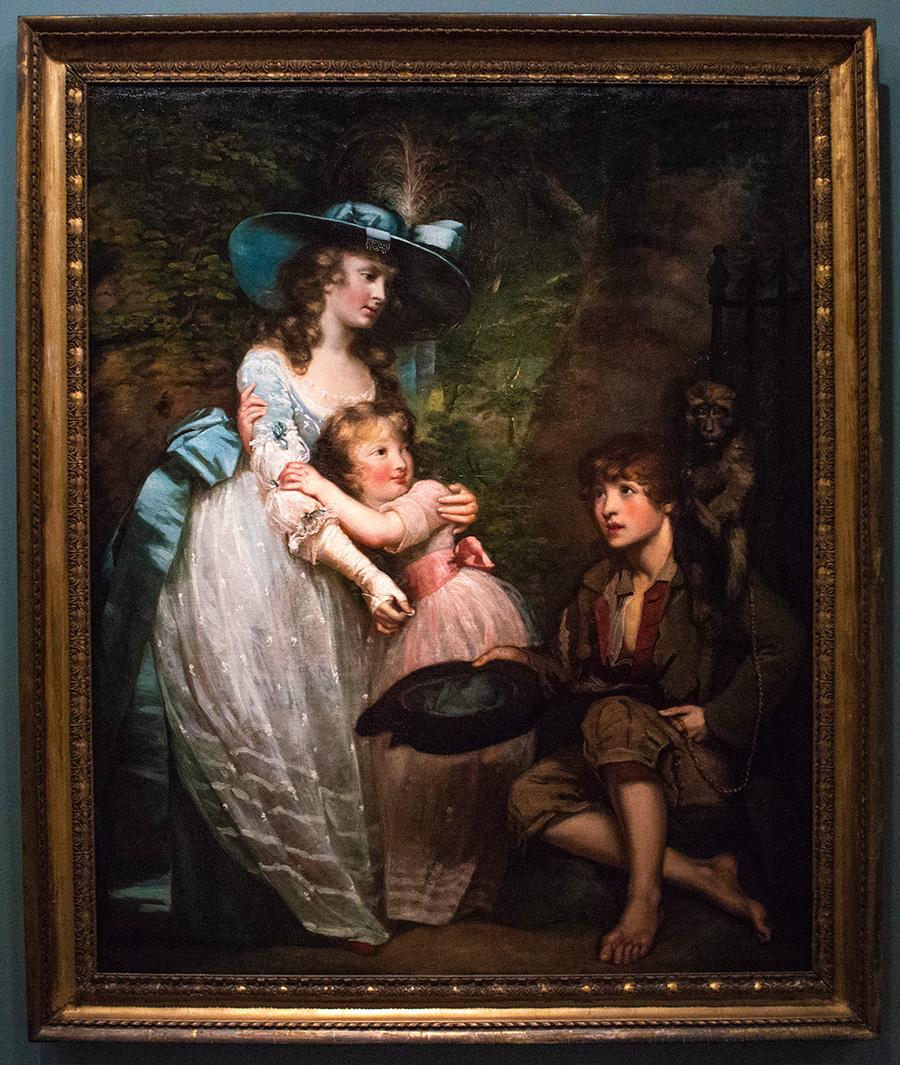 ג׳יימס נורת׳קוט, בריטי, 1746-1831- ״גברת צעירה נותנת נדבה לשחקן רחוב״, 1784 בקירוב. צבעי-שמן על בד.
