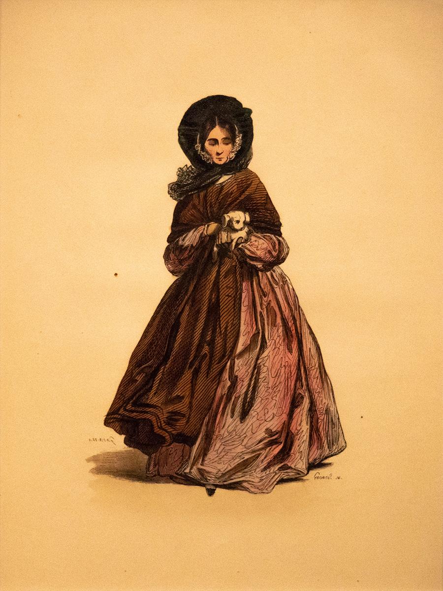 טולפיס גיום שבלייה, מוכר כפול גוורני, צרפתי, 1804-1866, ״גברת עם כלב חיק״, הדפס אבן צבוע ביד