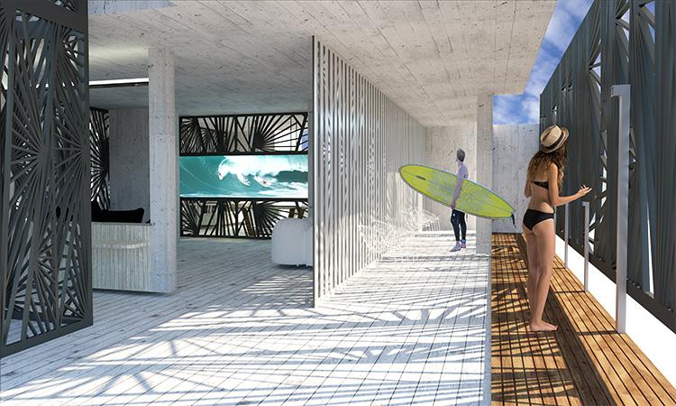 תמונה: מבט לכניסת הגולשים לבית המלון, אזור ייעודי לחזרה מן הים, דק עץ ומקלחות. הדמייה של שני אנטמן