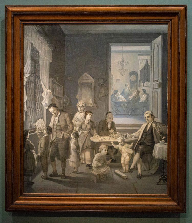 מוריץ דניאל אופנהיים, גרמני, 1800-1882- ״הדלקת נרות חנוכה״ 1880 צבעי שמן על בד