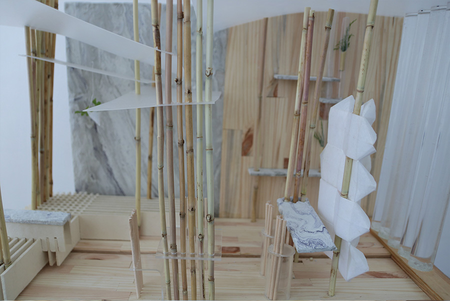 תמונה: שתי צורות ישיבה: הספסל מאפשר ישיבה לחוד ומזכיר את טקסי התה מעולם המזרח, שולחן הבר והשולחן הרגיל מאפשרים ישיבה קבוצתית , כמו שתיית תה באנגליה. מתוך ההגשה של עדי מתן ( צילום: עדי מתן)