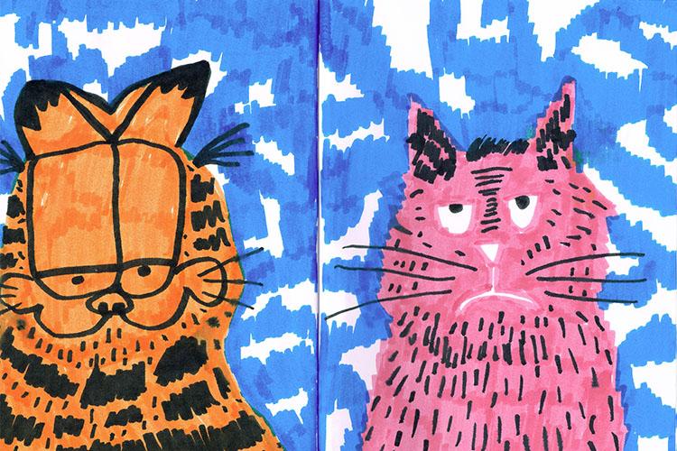 החתול המגניב של דור ה80 מול החתול של היום. איור - שחר בכור