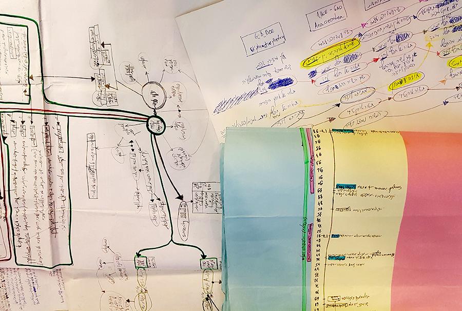 אוסף של מפות חשיבה. צילום: טל שאולי