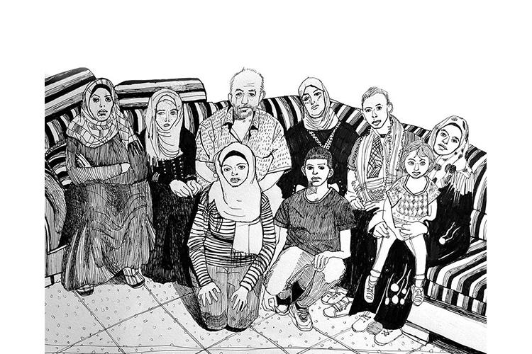 משפחתו של מוחמד אבו חדיר בסוכת האבלים