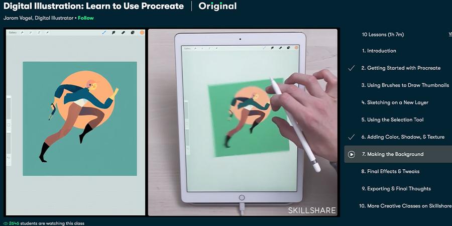 הדרכת Procreate. צילום מסך מתוך skillshare