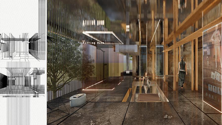 הדמיית קומת הגלריה - חלל עיצוב הפריט ומבטים פרספקטיביים.
