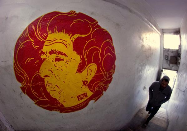 ציור של יוניל במדרגות. צילום: פריטימס קולקטיב