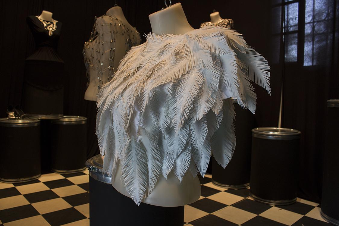 נוי שחר, דגמים מנייר, מפל, פלסטיק וריסוסי צבע. עוצבו בהשראת בעלי כנף.