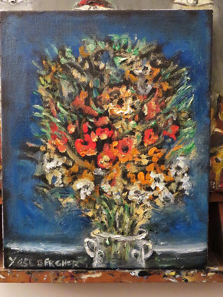 ברגנר, אגרטל פרחים - ציור בסטודיו