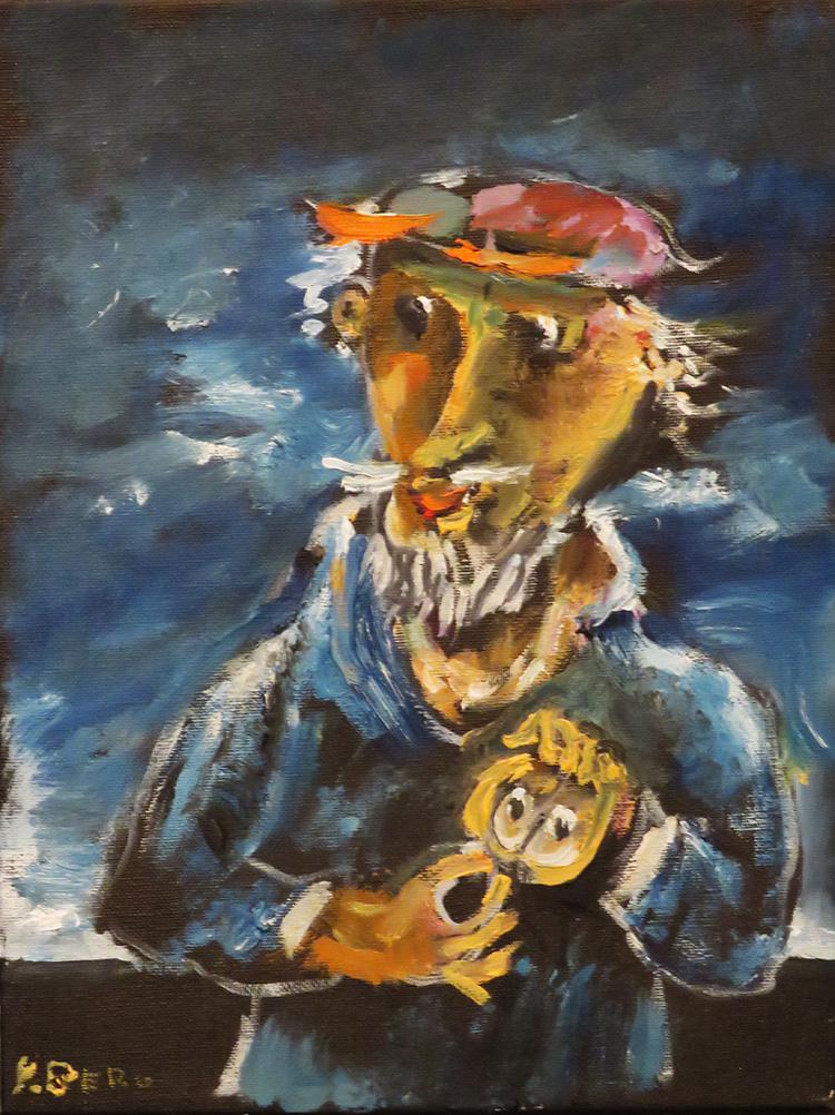 ברגנר, דון קישוט - ציור בסטודיו.