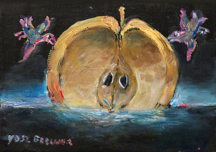 ברגנר, התפוח - הפך לאחד מסמליו המובהקים של ברגנר, מתוך ציור בסטודיו.