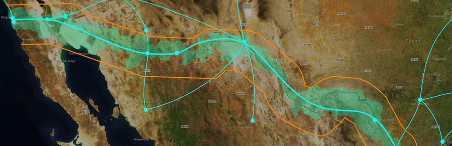 הצעה לנתיבי הייפר-לופ לאורך הגבול ולתוך ארה״ב ומקסיקו