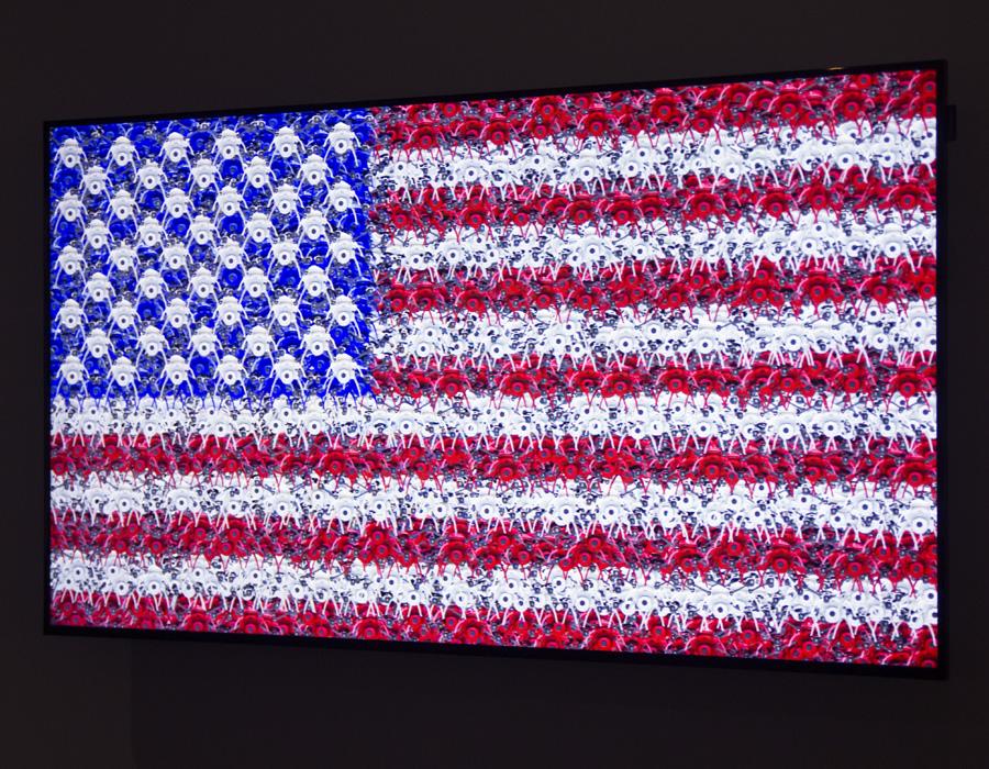 ״דגל״ של האמן קליף אוואנס בהשראתו של ג׳ספר ג׳ונס. צילום: מאיה נקר