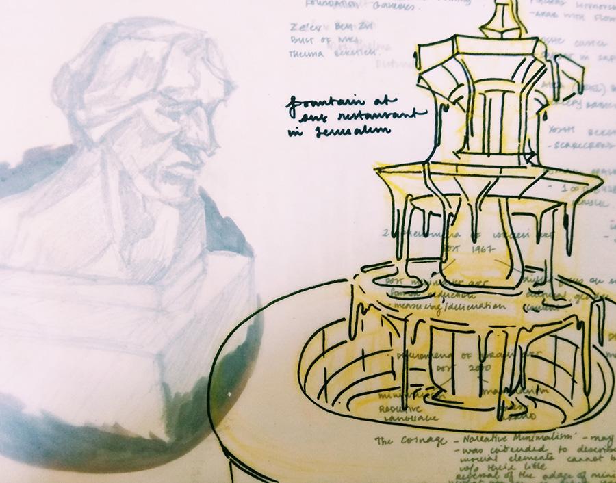 Fountain inside a restaurant and sculpture behind it - Madhavi Ltti Menon