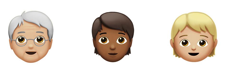 האימוג'יז נטולי המגדר של אפל. סביר להניח שניתן יהיה להתאים את גוון העור וצבע השיער לפי בחירת המשתמש/ת. (זכויות יוצרים: Apple)
