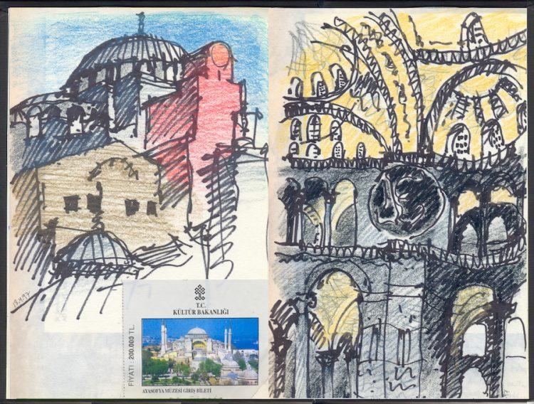 רישומים מאגיה סופיה שבאיסטנבול, תורכיה. אחד המבנים האיקוניים של תולדות האדריכלות, מבנה ביזנטי שמתווך בין התפתחות של האדריכלות הרומית לבין ההישגים של האדריכלות העותומנית.