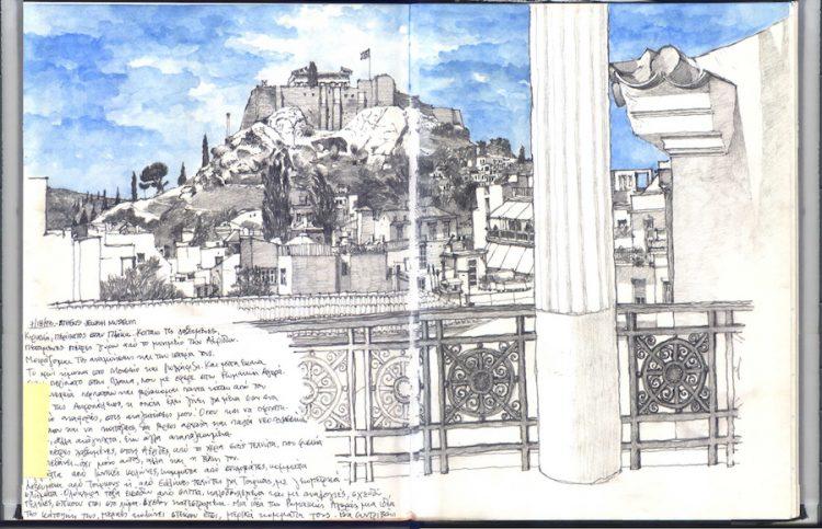 רישום של האקרופוליס באתונה, יוון. כשישבתי במרפסת האחורית של המוזיאון היהודי הישן בפלאקה, פתאום הבנתי שהמוזיאון צופה אל הגבעה של האקרופוליס. לא התאפקתי- ביקשתי אישור וביליתי את כל היום במרפסת, רושם.